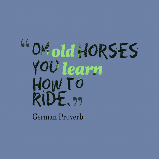 German Wisdom 's quote about . On old horses you learn…