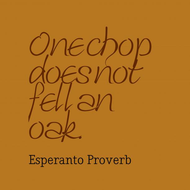 Esperanto wisdom about task.