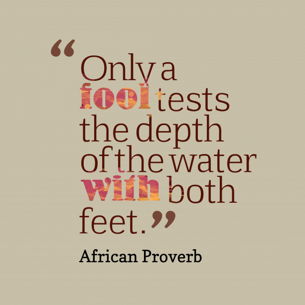 African Wisdom 's quote about . Only a fool tests the…