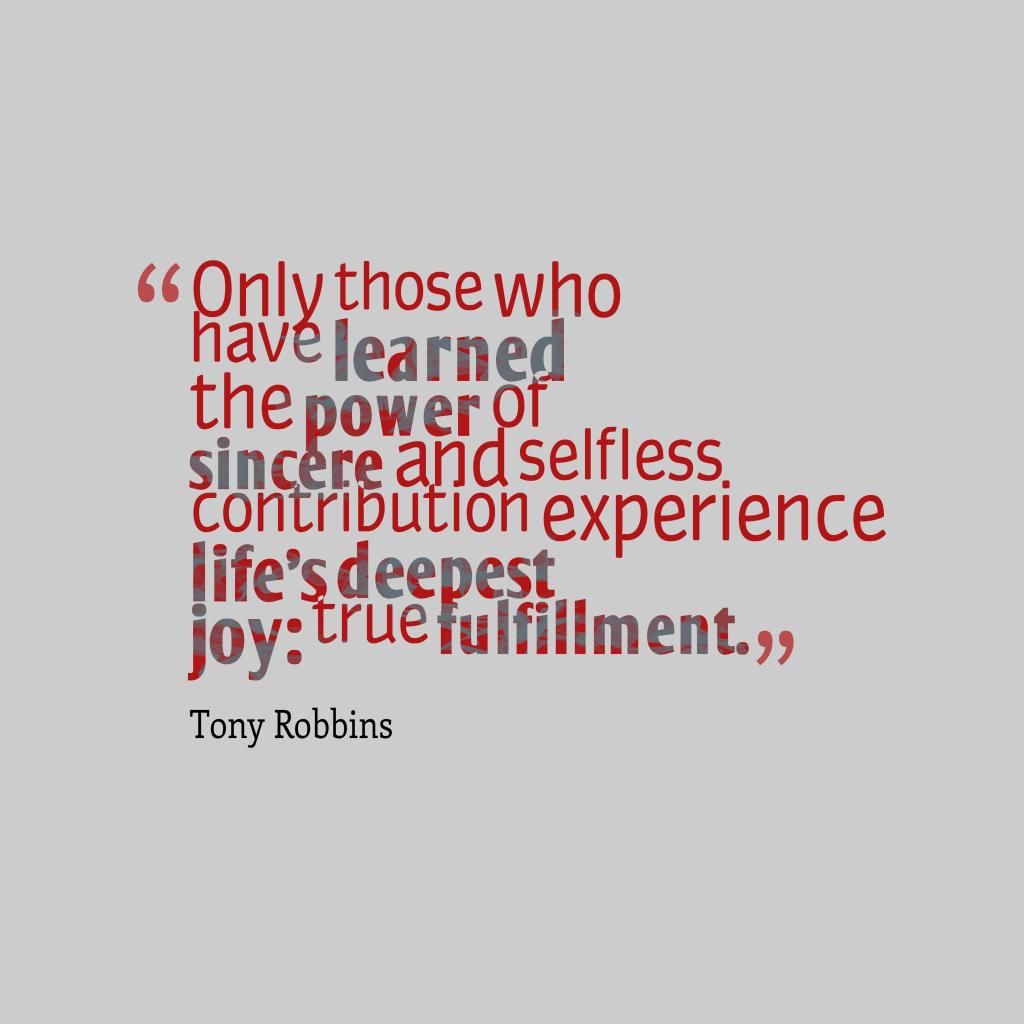 Tony Robbins quote about joy.