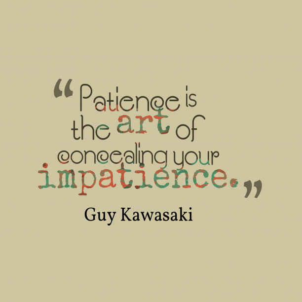 Guy Kawasaki quote about patience.