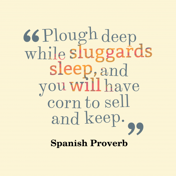 Spanish Wisdom 's quote about . Plough deep while sluggards sleep,…