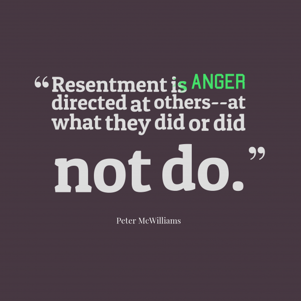 Resentment is anger