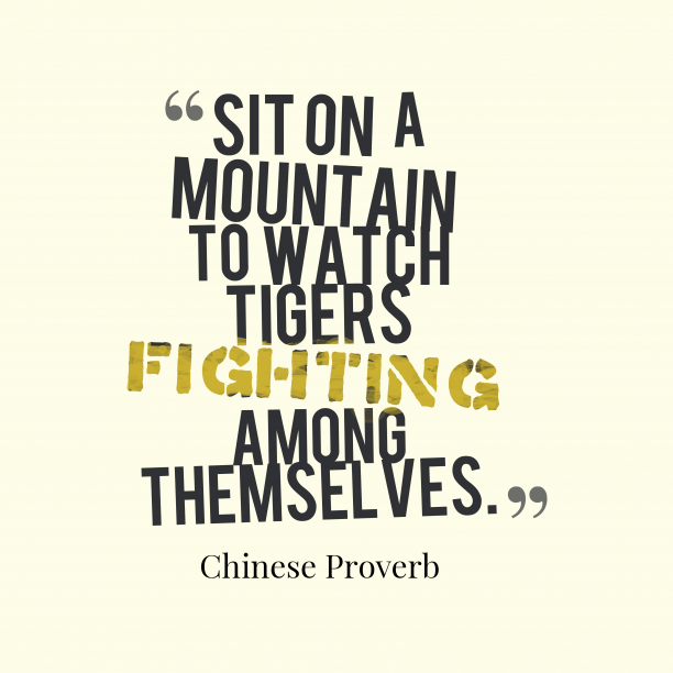 Chinese proverb about survival.