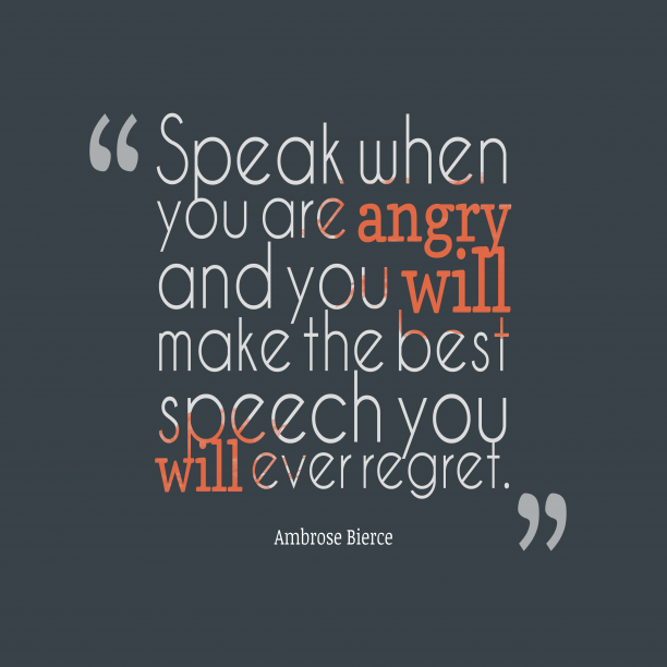 Ambrose Bierce quote about anger.