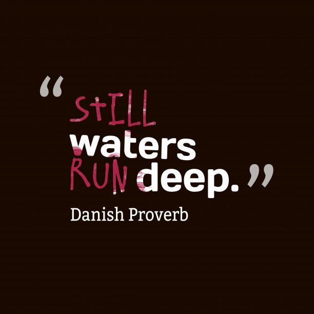 Danish Wisdom 's quote about . Still waters run deep….