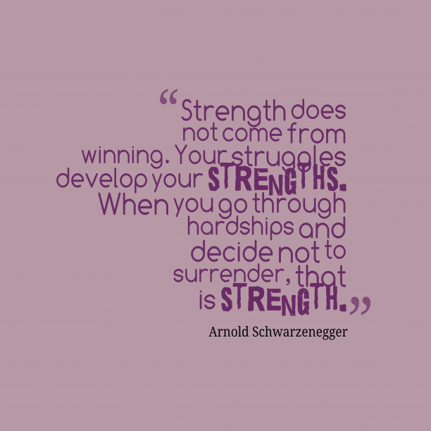 Arnold Schwarzenegger quote about strength.