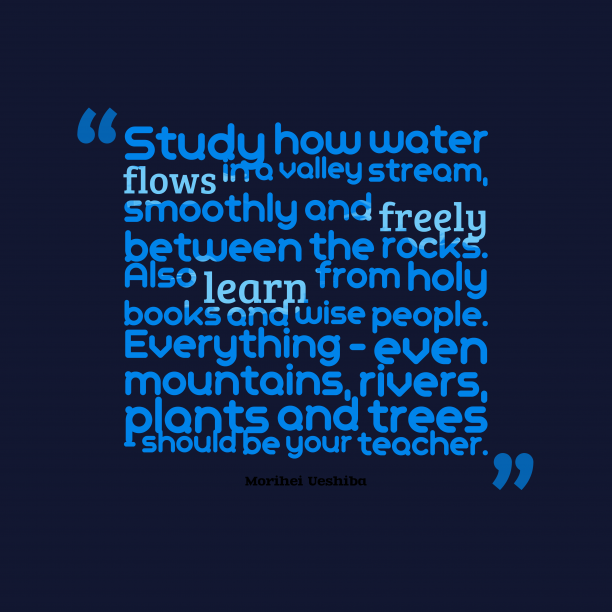 Morihei Ueshiba 's quote about teacher, learn. Study how water flows in…