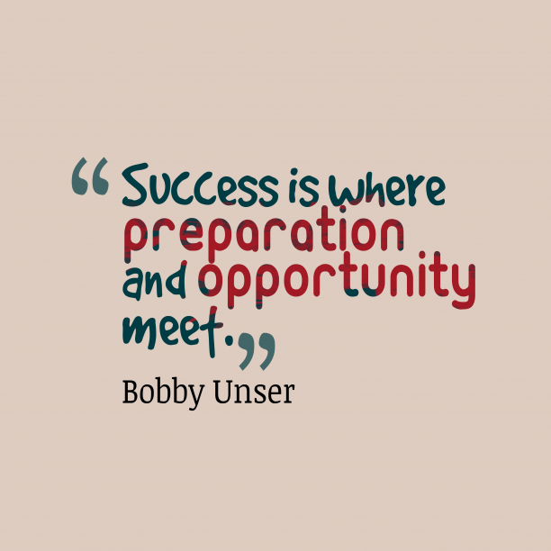 BobUnser 's quote about Success. Success is where preparation and…