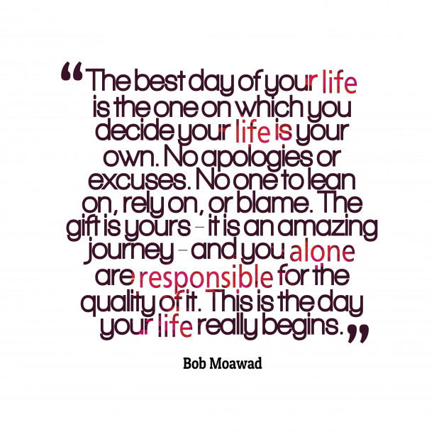 Bob Moawad 's quote about Life. The best day of your…