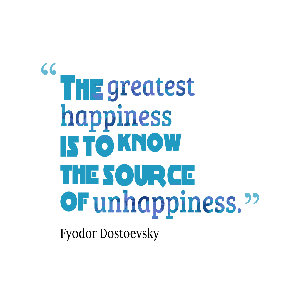Fyodor Dostoevsky quote about happiness.