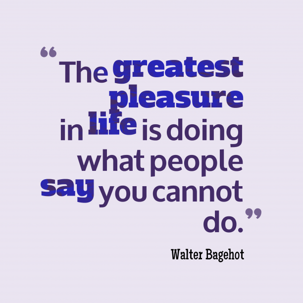 Walter Bagehot 's quote about pleasure,life. The greatest pleasure in life…