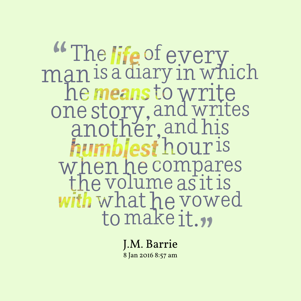 J. M. Barrie quote about life.
