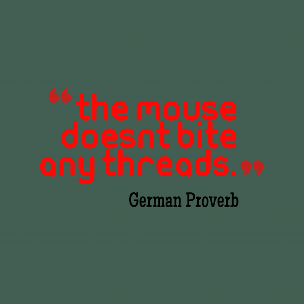 German proverb about change.