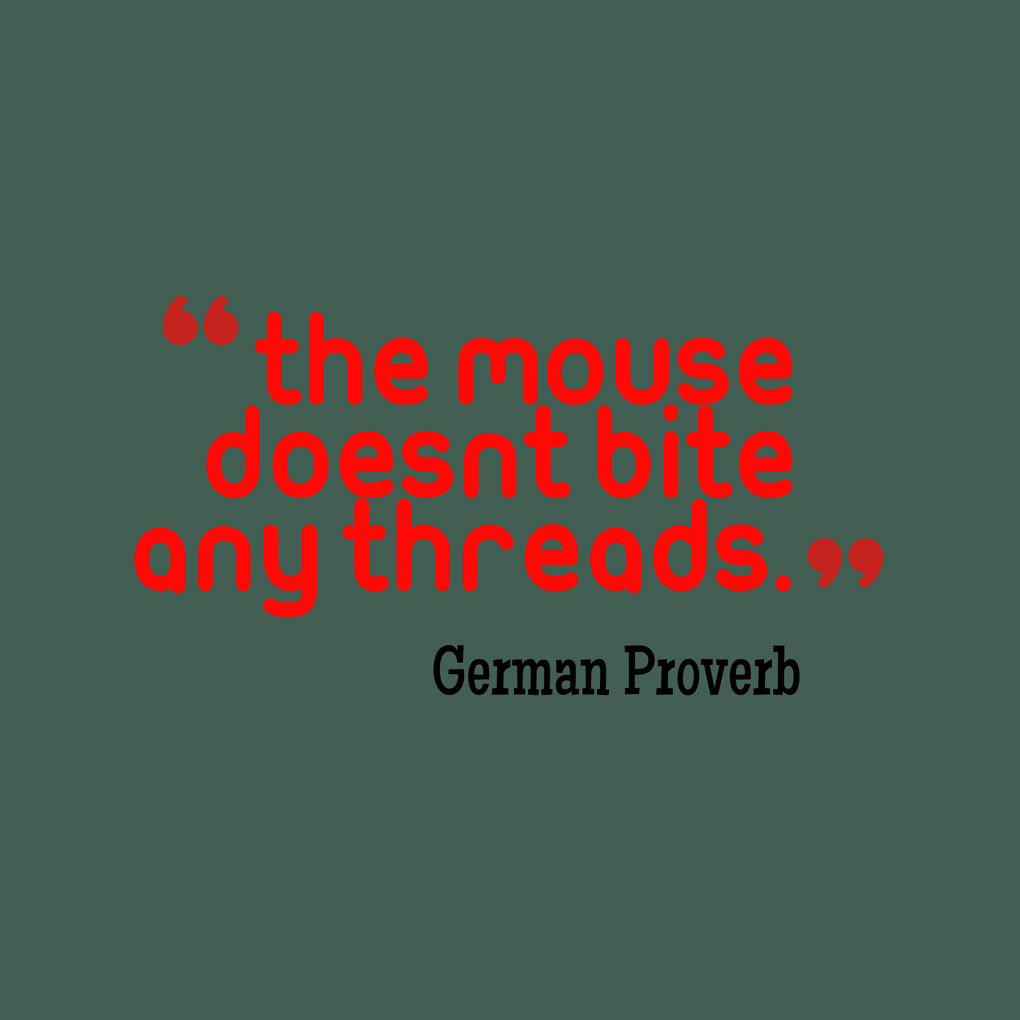 Quotes image of The mouse doesn't bite any threads.