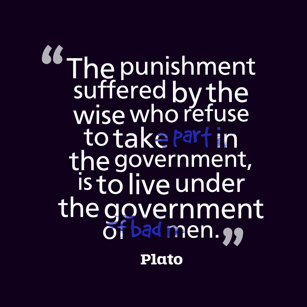 Plato quote about  government.