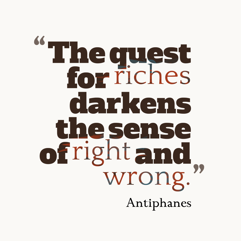 Antiphanes quote about riches.