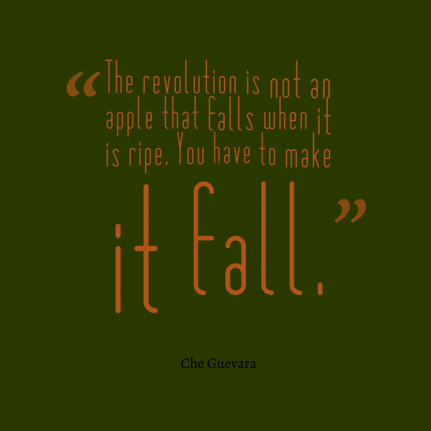 Che Guevara 's quote about revolution. The revolution is not an…