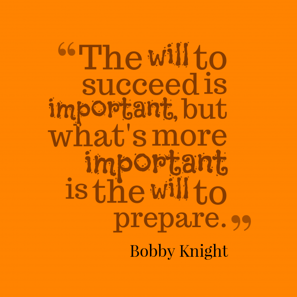 BobKnight 's quote about preparation. The will to succeed is…