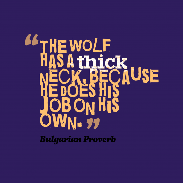 Bulgarian Wisdom 's quote about . The wolf has a thick…