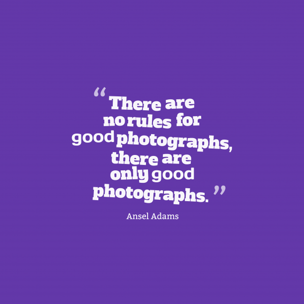 Ansel Adams 's quote about . There are no rules for…