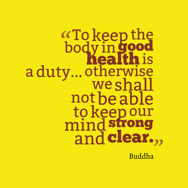 Buddha 's quote about . To keep the body in…