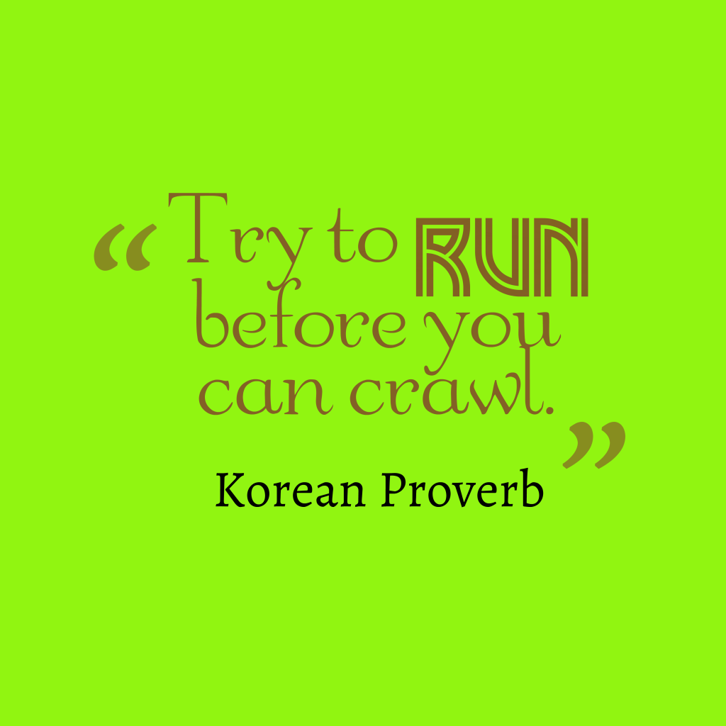 Korean proverb about step.