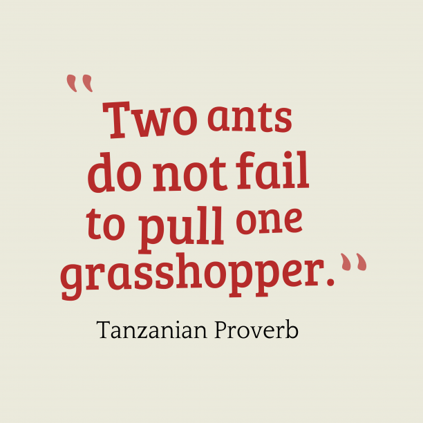 Tanzanian Wisdom 's quote about . Two ants do not fail…