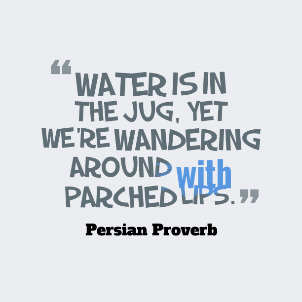 Persian wisdom about solution.