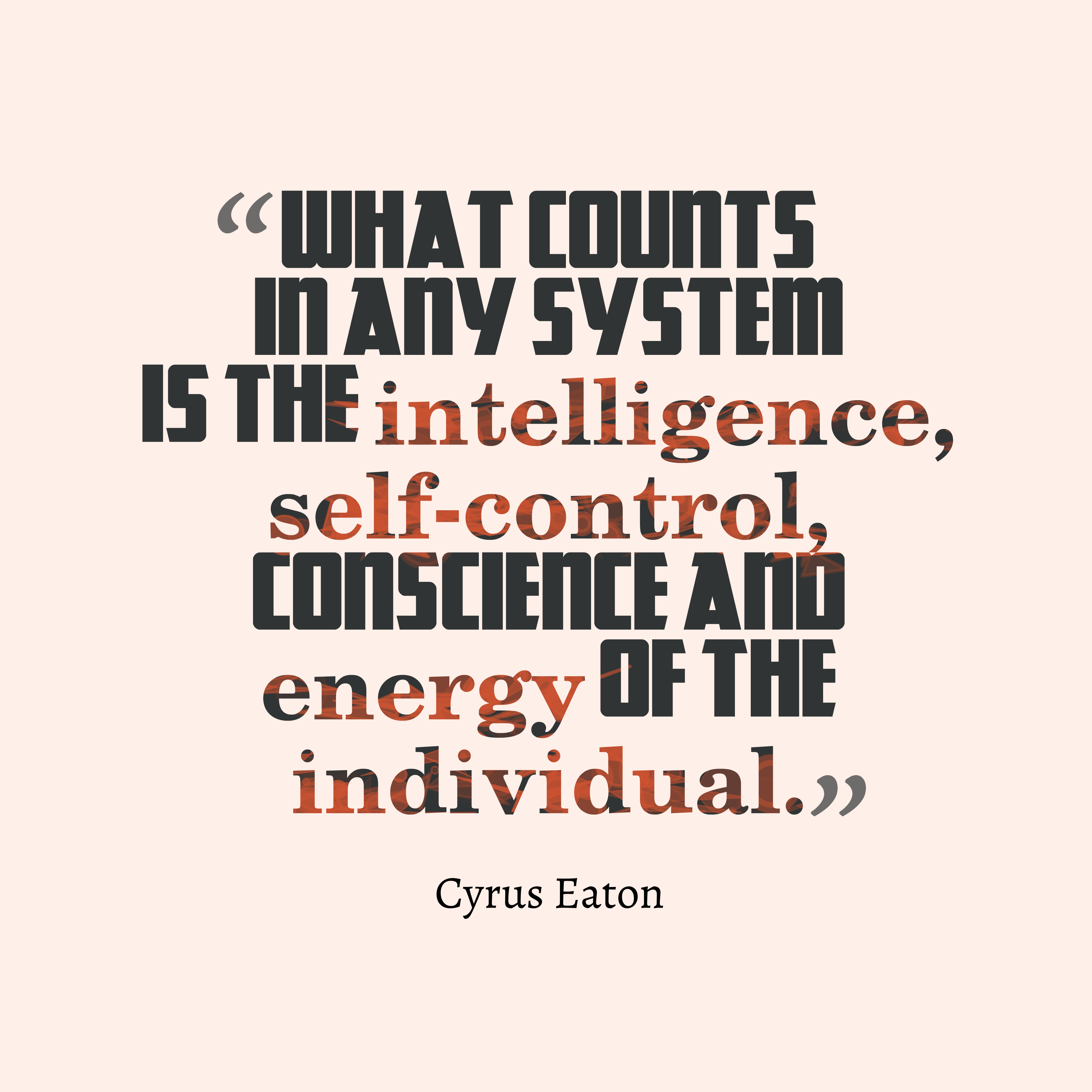 Quotes image of What counts in any system is the intelligence, self-control, conscience and energy of the individual.