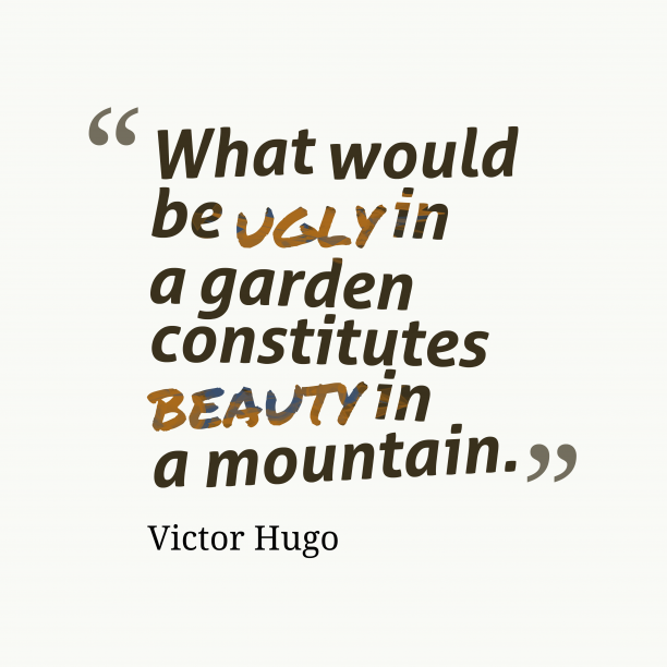Victor Hugo 's quote about nature, vision. What would be ugly in…