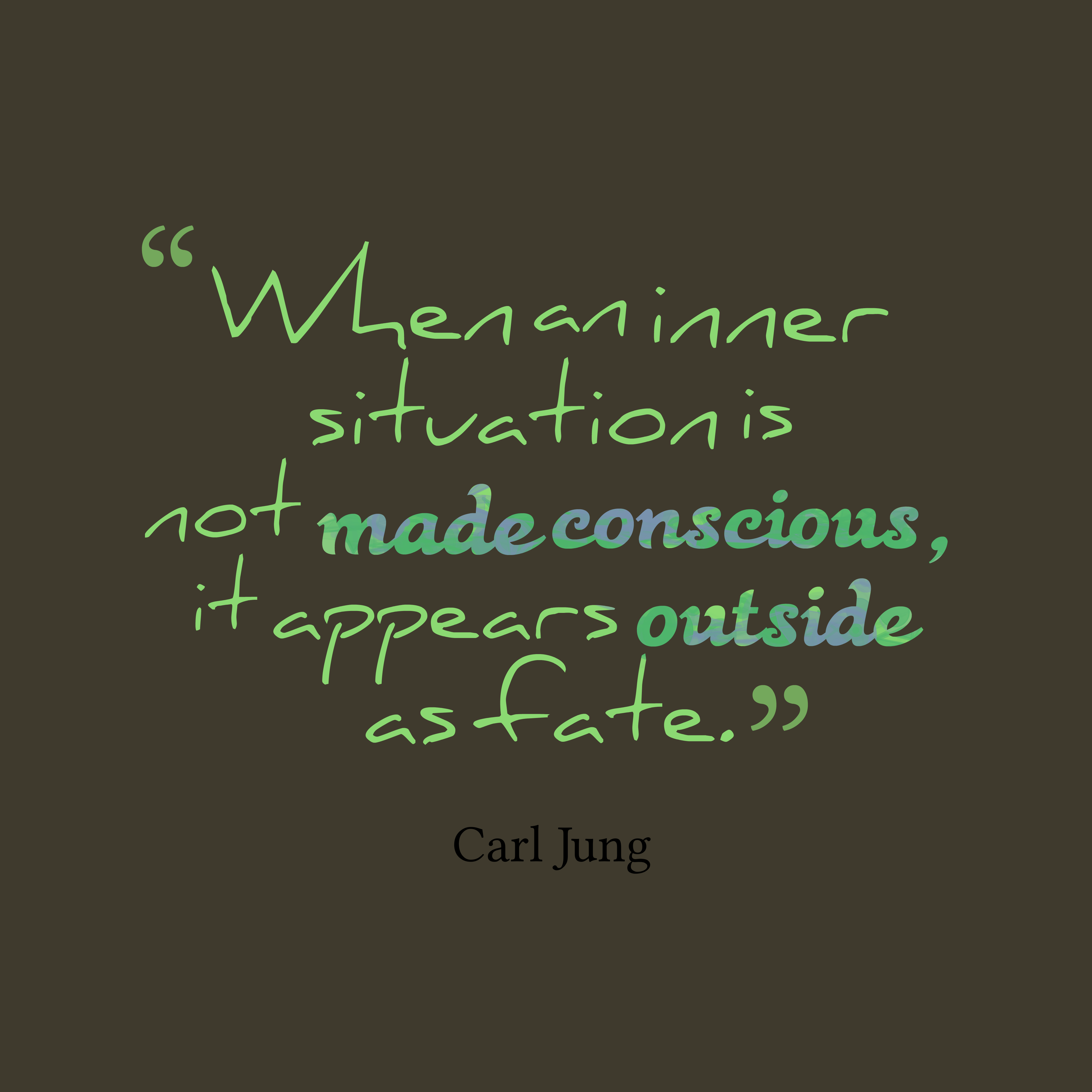 Quotes image of When an inner situation is not made conscious, it appears outside as fate.