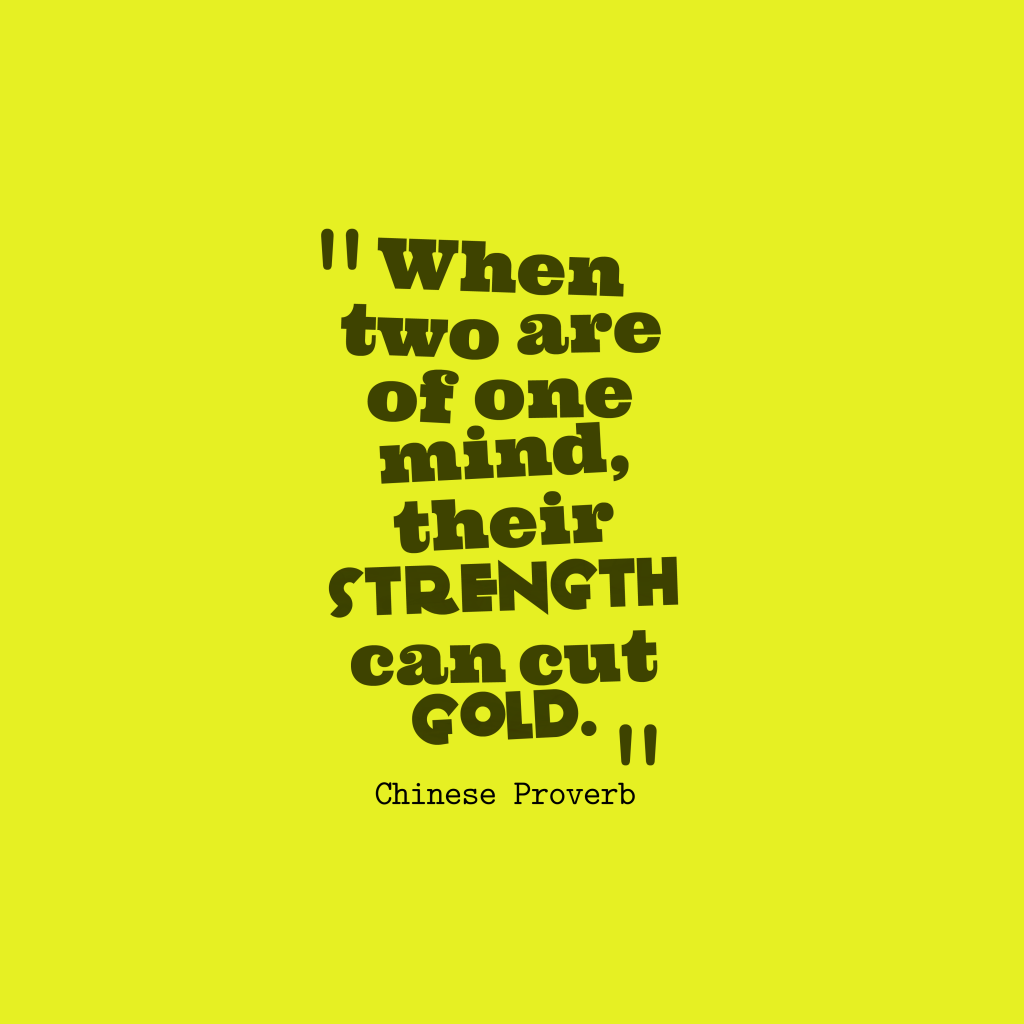 Chinese proverb about team work.