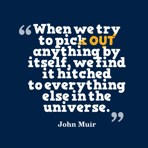 John Muir 's quote about universe. When we try to pick…