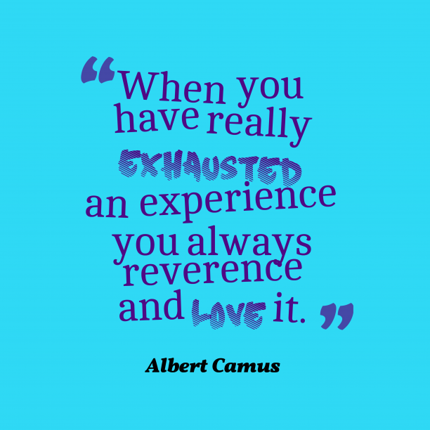 Albert Camus quote about experience.