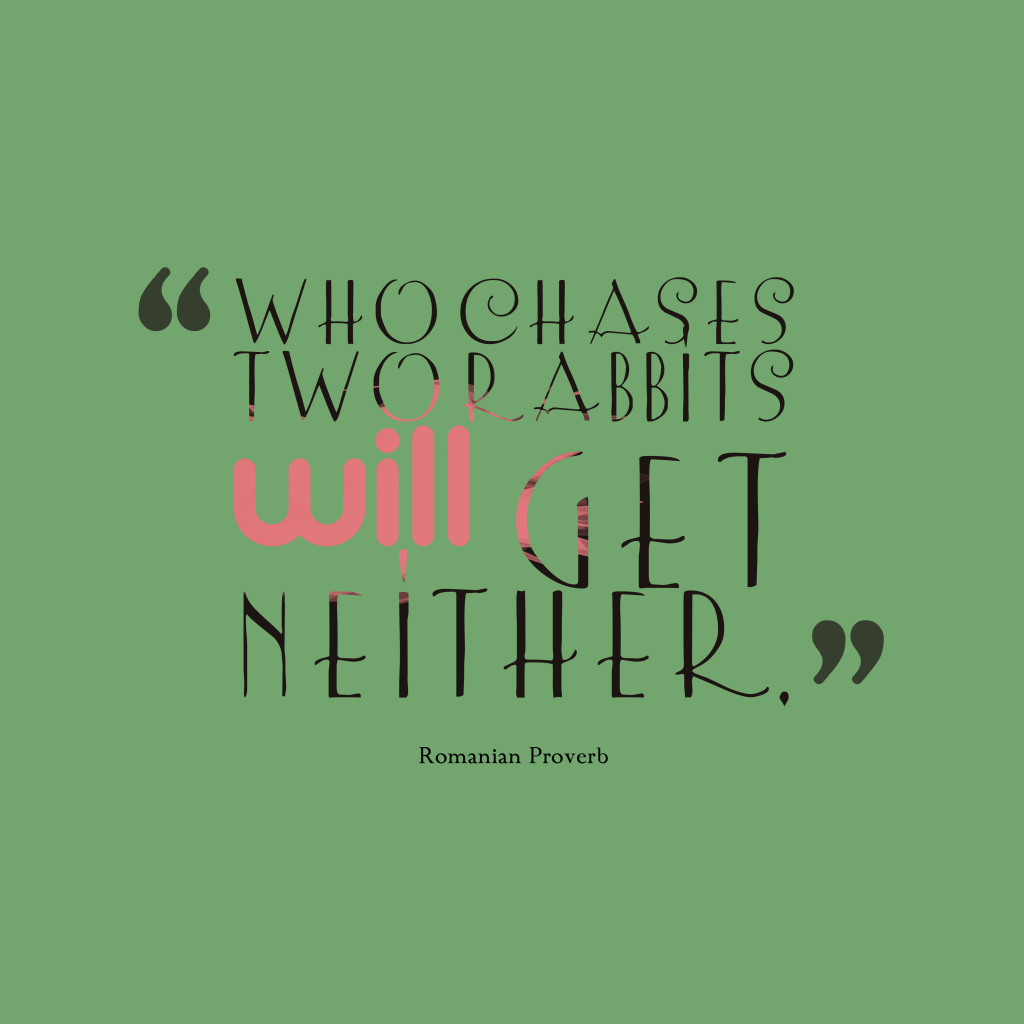 Romanian proverb about focus.