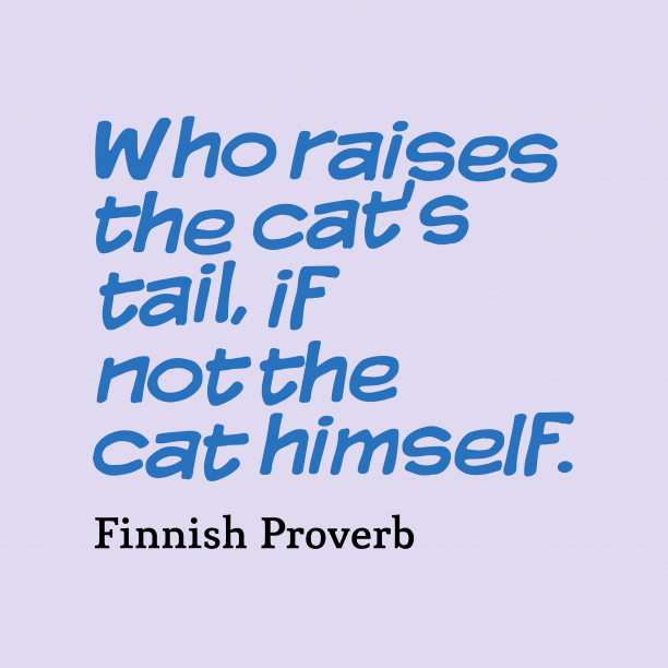 Finnish proverb about change.