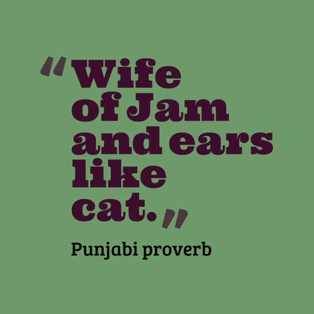 Punjabi proverb 's quote about . Wife of Jam and ears…