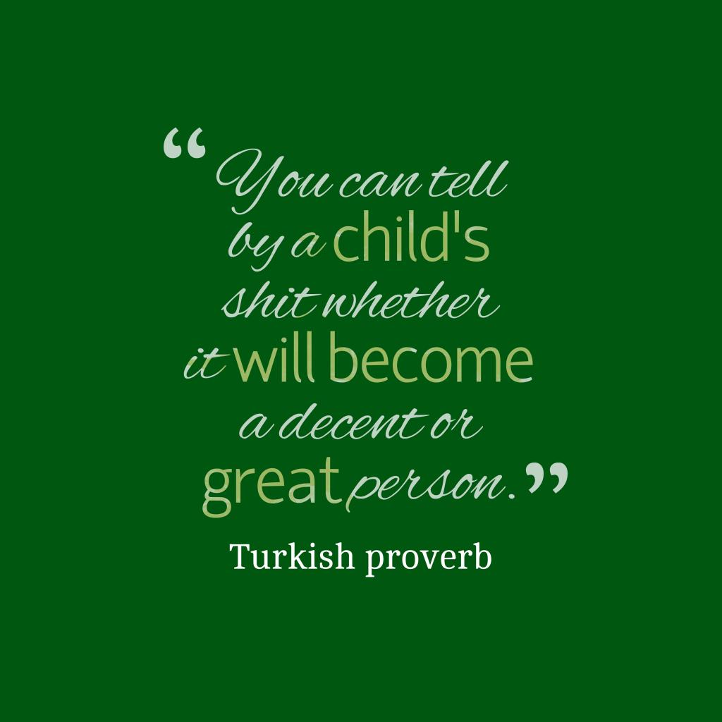 Turkish proverb about children.
