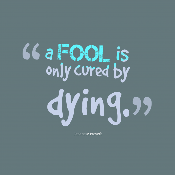 Japanese Wisdom 's quote about . a fool is only cured…
