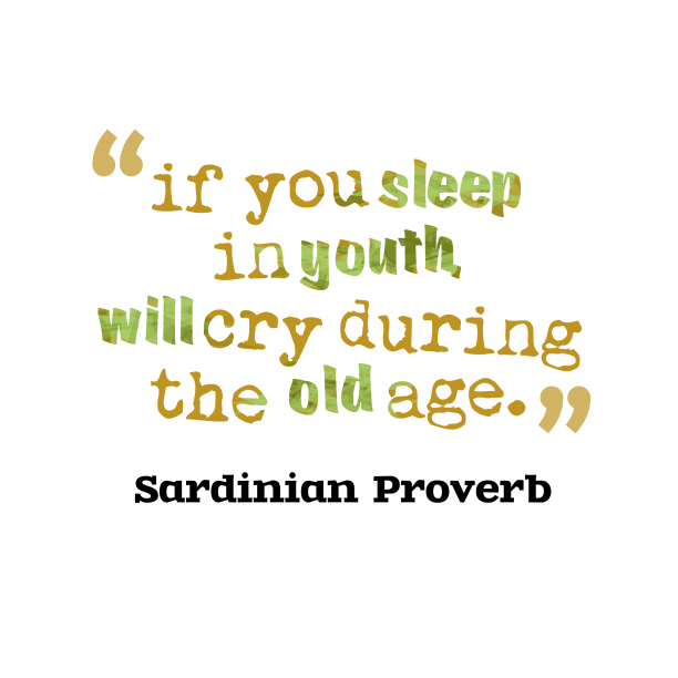 Sardinian Wisdom 's quote about . if you sleep in youth,…