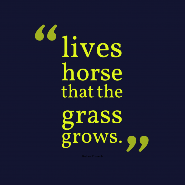 Italian Wisdom 's quote about horse, grows. lives horse that the grass…