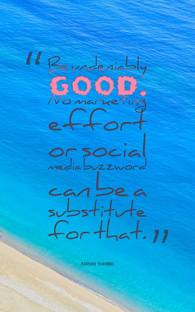 Quotes image of Be undeniably good. No marketing effort or social media buzzword can be a substitute for that.