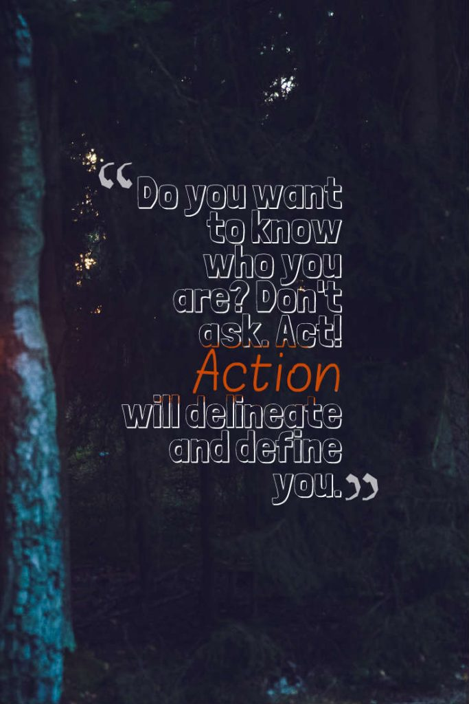 Quotes image of Do you want to know who you are? Don't ask. Act! Action will delineate and define you.