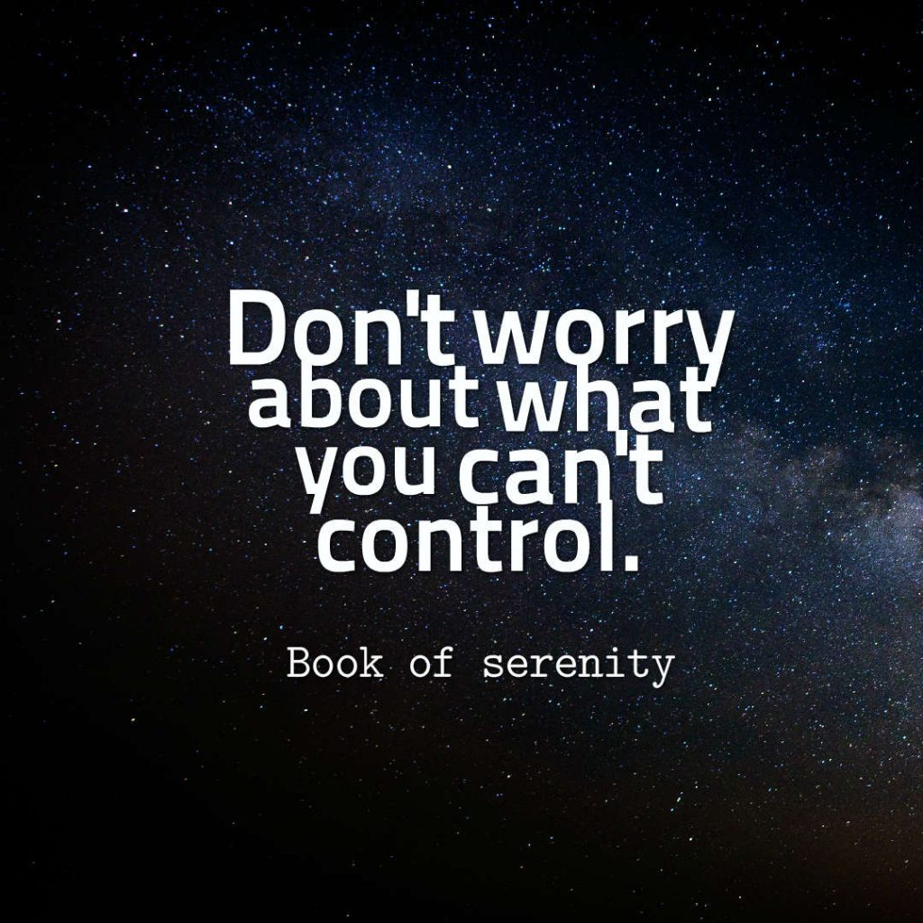 Book of Serenity quote about worry.
