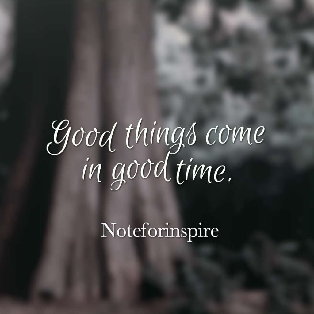 Quotes image of Good things come in good time.