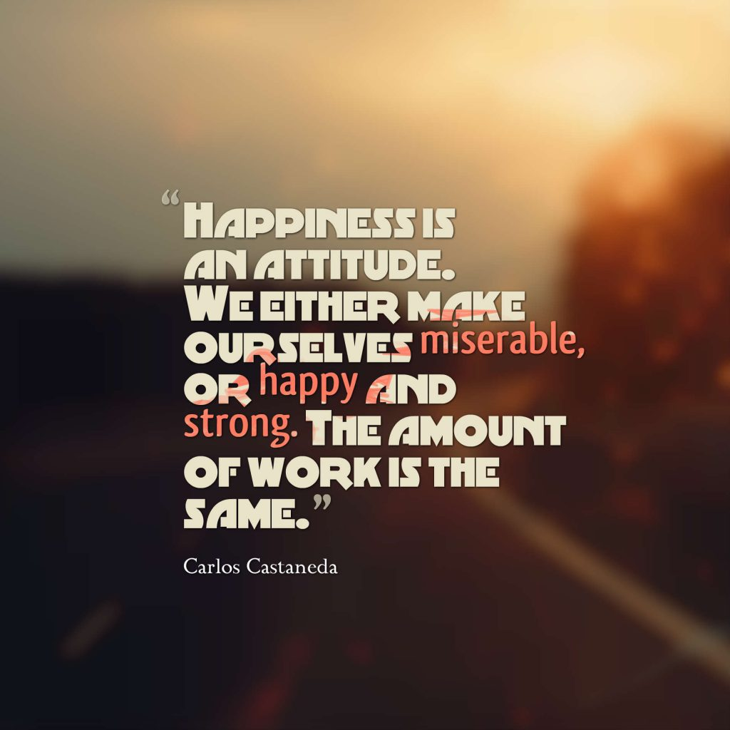 Quotes image of Happiness is an attitude. We either make ourselves miserable, or happy and strong. The amount of work is the same.