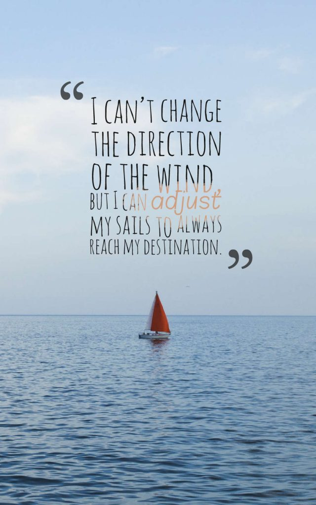Quotes image of I can't change the direction of the wind, but I can adjust my sails to always reach my destination.