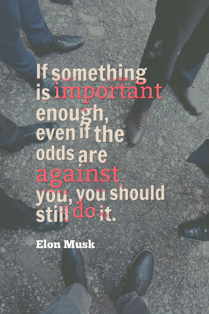Elon Musk 's quote about persistence,tenacity. If something is important enough,…
