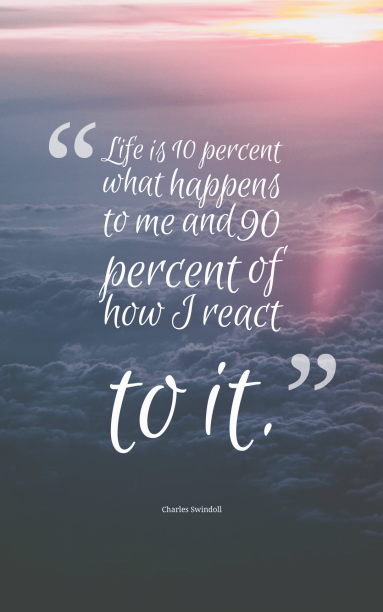 Charles Swindoll 's quote about life,react. Life is 10% what happens…